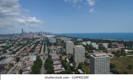 Drone view of downtown Chicago from South Side
