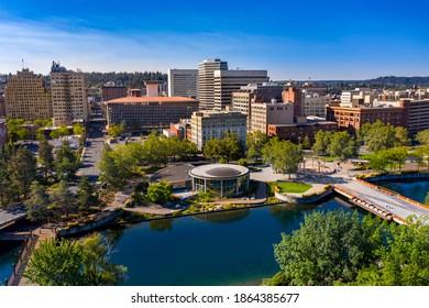 Drone view of downtown Spokane