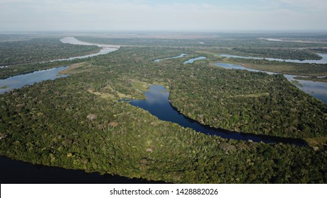 Drone view at the edge of amazon rainforest in Bolivia. About 100 kilometers north from Santissima Trinidad. These pictures show lagunas inthe area between rio Mamore and road Trinidad / San Ramon.