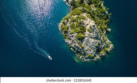 Drone view of the Fannette Island in Emerald Bay South Lake Tahoe California