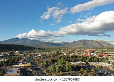 Drone view of flagstaff mountain, a hilly city at 7000 ft elevation