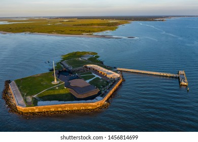 Drone View of Fort Sumter at Sunrise