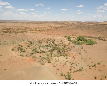 Drone view of Henbury Meteorites Conservation Reserve, two craters after meteorite impacts, Australia