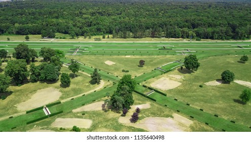 Drone view of a hippodrome in Compiegne France