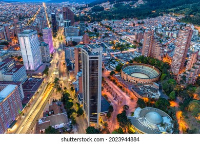 drone view of the international and financial center of Bogota at sunset