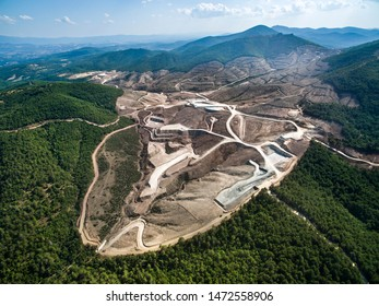 Drone view of Kaz Mountains. Mount Ida gold mine. Deforestation of the mountain in Canakkale / Turkey. Gold mine from above.