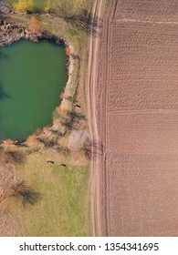 Drone view of a lake and an agricultural field in spring