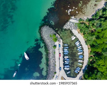 Drone View of Marina Primorsko with Boats and Yachts