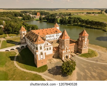 Drone view of the Mir Castle complex in the region of Grodno, in Belarus - Gothic style, the fortification is an UNESCO heritage site, also known as Mirsky zamok.