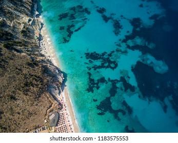 Drone view of Mirror beach in Saranda, Albania (Albanian Riviera)