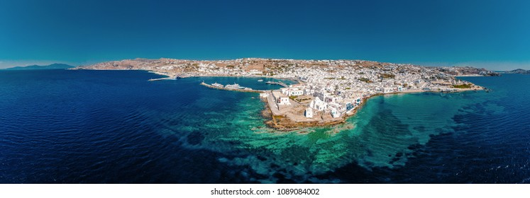 Drone view at Mykonos Greece, Mikonos town with Little venice and windmills
