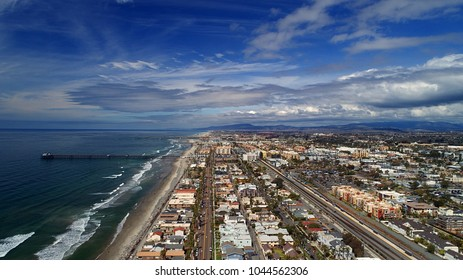 Drone view of Oceanside pier in north county San Diego California