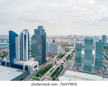 Drone view on buildings in downtown, capital city Astana in Kazakhstan
