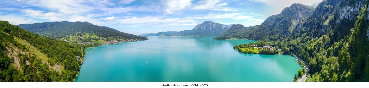 Drone view on lake Attersee, Austria