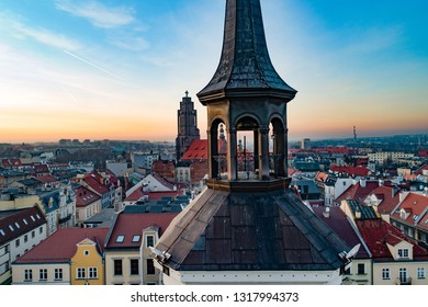 Drone view on town hall on Gliwice market square. Gliwice, Silesia, Poland