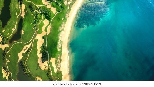 Drone view of the pebble beach golf course,panorama