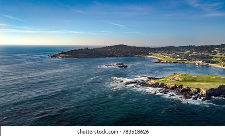 Drone view of the Pebble Beach Golf Course, Arrowhead Point and the Pescadero Rocks in Monterey California