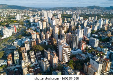 Drone view of Porto Alegre, RS, Brazil. Afternoon view over Petropolis, an upper class area with residential and commercial buildings. Aerial photo of the biggest city in the South of Brazil.