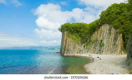 Drone view of rocks, nature, sea and water - Skala Kiseleva is a natural monument on the territory of the Tuapse district of the Krasnodar Territory. Aerial view from above. 4K footage. - Shutterstock ID 1970104186