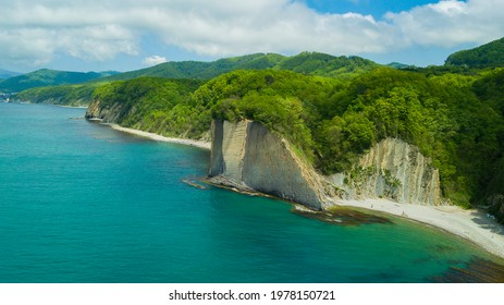 Drone view of rocks, nature, sea and water - Skala Kiseleva is a natural monument on the territory of the Tuapse district of the Krasnodar Territory. Aerial view from above. 4K footage. - Shutterstock ID 1978150721