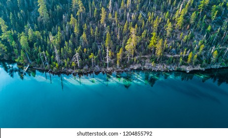 Drone view of the shore at Lake Tahoe California