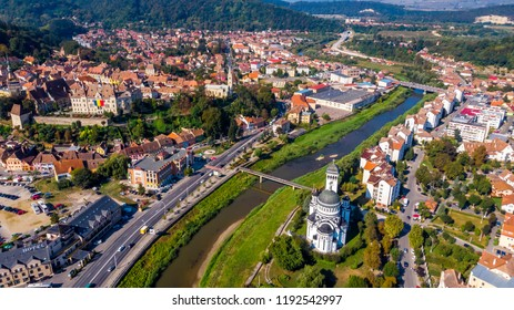 Drone view of Sighisoara Citadel, Mures County, Romania