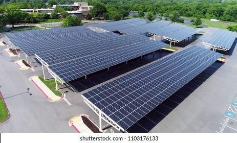 drone view solar panels in parking roof