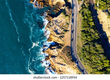 Drone view of Tuscany coastline, Italy