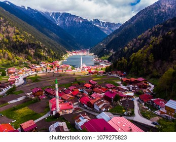 Drone view to the Uzungol lake in Trabzon