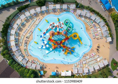 drone view to waterloo with colored elements in aqua park