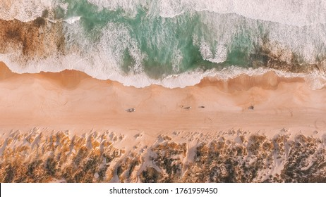 Drone view of Yeagarup Beach and the Warren River, Western Australia, wild southern ocean, river entrance, Australian coastline, rugged coast and crashing waves  - Shutterstock ID 1761959450