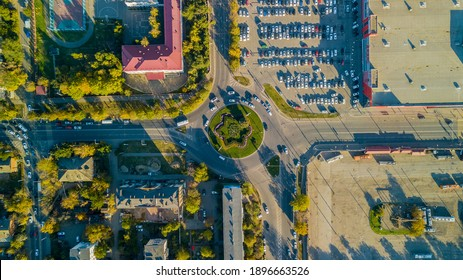Drones Eye View - traffic jam top view, transportation concept, roundabout intersection crossroad aerial view from above