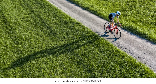 droneview of an athlete on a bicycle