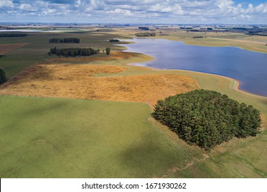 Droneview landscape countryside lake and bluesky