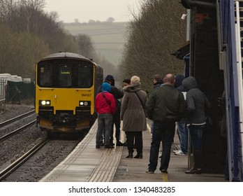 Dronfield, Derbyshire/ England - March 16 2019: Dronfield Station built by the Midland Railway in 1870 faces new challenges from HS2 and line electrification.