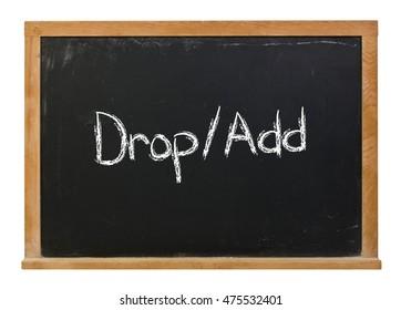 Drop Add written in white chalk on a black chalkboard isolated on white