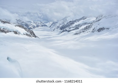 Drop dead gorgeous view of Aletsch Glacier from 'Top of Europe' after hours of waiting for the snow, fog and clouds to clear up. Beautiful Alps!  Location: Jungfraujoch, Valais, Switzerland