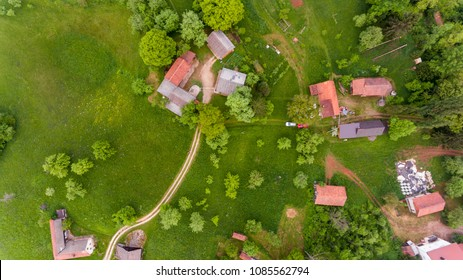 Drop down view of rural houses.