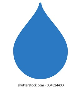 Drop glyph icon. Style is flat symbol, smooth blue color, rounded angles, white background.