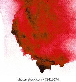 Drop red abstract watercolor