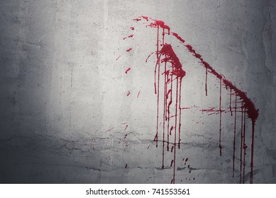 Drop of red blood on wall in abandoned house. Halloween festival and event. Murder and Killer theme. Background for horror and scream film presentation. Criminal and social issues concept