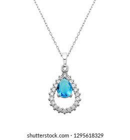 Drop shape necklace with zircon and drop aquamarine gemstone