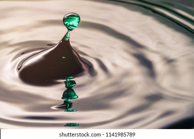 Drop or water in different colors and shapes, created a beautiful shape after hitting a water surface. Captured through high speed photography