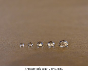 Drop of water row on table