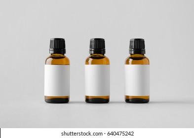 Dropper Bottle Mock-Up - Three Bottles. Blank Label