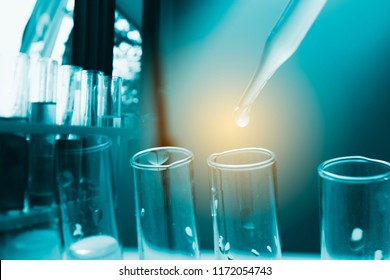 Dropping chemical liquid to test tube, laboratory research and development concept. scientist sample chemistry or medicine test