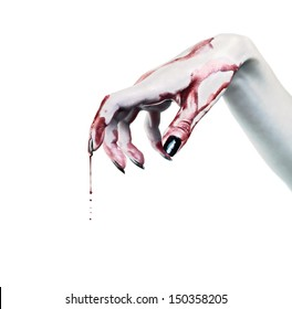 Drops of blood on the dead hand
