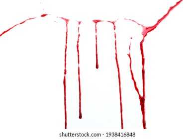 Drops of blood on white background.