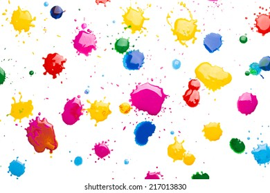 Drops of ink on white background