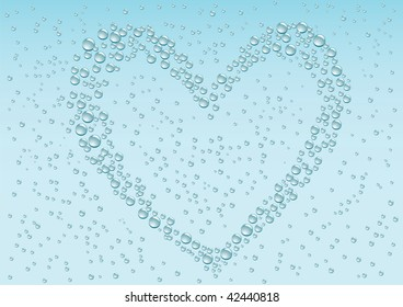 Drops love heart on the blue condensation background